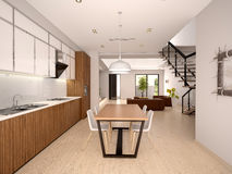 Illustration des modernen Kücheninnenraums Lizenzfreie Stockfotos
