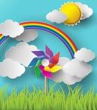 Illustration des moulins de vent soufflant pendant les jours nuageux Images stock