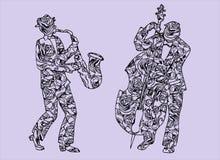 Illustration des musiciens Hommes qui exécutent la musique Saxophone et timbales Photographie stock libre de droits