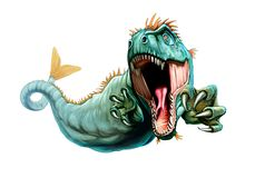 Illustration des mythologischen Geschöpfs Cetus lizenzfreie abbildung