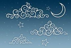 Illustration des nächtlichen Himmels mit Wolken, Mond u. Sternen stock abbildung