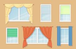 Illustration des options de conception et types de rideaux en fenêtres Photos libres de droits