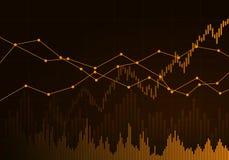 Illustration des orange Geschäftsdiagramms des Wachstums und des Falles auf Lager, des Geldes oder der Rohstoffpreise mit Linien  lizenzfreie abbildung