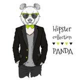 Illustration des Pandahippies kleidete oben in der Jacke, in den Hosen und in der Strickjacke an Auch im corel abgehobenen Betrag Lizenzfreies Stockbild