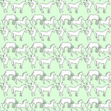 Illustration des Pferds Nahtloses Muster Weiße Mustangs auf einem blauen Hintergrund Stockfotografie