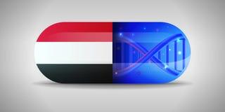 Illustration des pharmaceutiques nationales du Yémen Production de drogue au Yémen Drapeau national du Yémen sur la capsule avec  illustration de vecteur