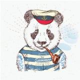 Illustration des Piratenpandas auf blauem Hintergrund im Vektor Lizenzfreie Stockfotografie