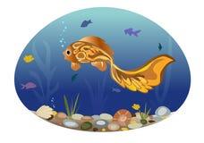 Illustration des poissons sur le fond d'un paysage de mer Photo libre de droits