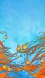 Illustration des pommes oranges sur des branchements Image stock