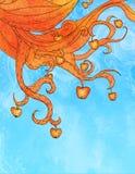 Illustration des pommes oranges sur des branchements Photographie stock