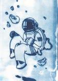 Illustration des Raumfahrers mit Spacesuit im Öffnungsraum Stockfotos