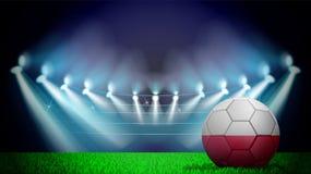 Illustration des realistischen Fußballs gemalt in der Staatsflagge von Polen auf beleuchtetem Stadion Vektor kann in der Werbung  vektor abbildung