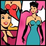 Illustration des Retro- Mädchens in der Pop-Arten-Art Lizenzfreies Stockfoto