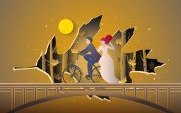 Illustration des romantischen Paarreitfahrrades am Herbstwald abgedeckt durch Blattpapierschnitt stock abbildung