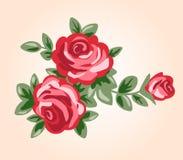 Illustration des roses rouges dans le rétro style Images stock