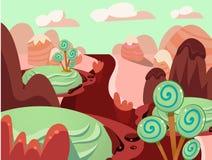 Illustration des süßen Lebensmittellandes der Fantasie stockbild