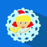 Illustration des Sankt-Mädchen Weihnachtsneuen Jahres einer Draufsicht der Rock in den Formschneeflocken auf blauer Hintergrundbl Lizenzfreies Stockfoto