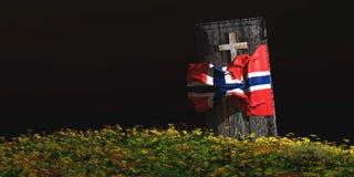 Illustration des Sarges mit Flagge Lizenzfreies Stockfoto