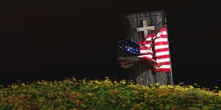 Illustration des Sarges mit Flagge Stockfoto