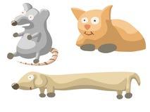 Illustration des Satzes mit Katzenhund und -maus Lizenzfreies Stockbild