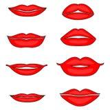 Illustration des Satzes weiblicher Lippen lizenzfreie abbildung