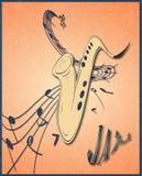 Illustration des Saxophons und der musikalischen Anmerkungen über Daube, Schmutzhintergrund und Beschaffenheit Lizenzfreies Stockfoto