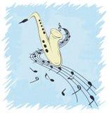 Illustration des Saxophons und der musikalischen Anmerkungen über Daube, Schmutzhintergrund und Beschaffenheit Stockbild