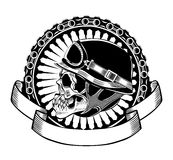 Illustration des Schädels mit Sturzhelm lizenzfreie stockfotografie