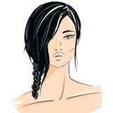 Illustration des schönen Brunettemädchens Stockfoto