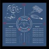 Illustration des Schablonenfischmenüs Stockbild