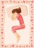 Vektorillustration des schlafenden Mädchens Lizenzfreie Stockfotos