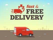 Illustration des schnellen Versandkonzeptes LKW-Packwagen von Lieferungsfahrten an der hohen Geschwindigkeit Stockfoto
