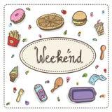 Illustration des Schnellimbisses: Pizza, Schaumgummiringe, Hamburger, Fischrogen, Kaffee, Huhn, stock abbildung