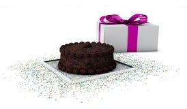 Illustration des Schokoladen-Kuchens mit handgefertigtem, auf weißem Hintergrund lizenzfreie abbildung