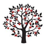 Illustration des schwarzen Baums und der roten Äpfel Stockfoto