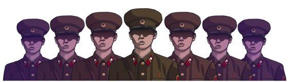 Illustration des soldats coréens du nord portant l'uniforme en couleurs illustration libre de droits