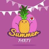 Illustration des Sommerfestplakat-Karikaturdesigns mit nettem Ananascharakter, die Postkarte der Kinder, gesunder Lebensstil Stockfotografie