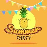 Illustration des Sommerfestplakat-Karikaturdesigns mit netten Ananascharakteren, die Postkarte der Kinder, gesunder Lebensstil Stockfotos