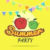 Illustration des Sommerfestplakat-Karikaturdesigns mit netten Apfelcharakteren, die Postkarte der Kinder, rohes Parteikonzept des Stockfoto