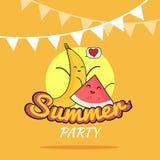 Illustration des Sommerfestplakat-Karikaturdesigns mit netten Bananen- und Wassermelonencharakteren, die Postkarte der Kinder, ge Stockfotografie