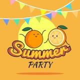 Illustration des Sommerfestplakat-Karikaturdesigns mit netten orange Charakteren, die Postkarte der Kinder, gesunder Lebensstil Lizenzfreie Stockfotos