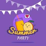 Illustration des Sommerfestplakat-Karikaturdesigns mit netten orange Charakteren und Smoothie, die Postkarte der Kinder, gesunder Lizenzfreie Stockfotos