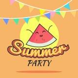 Illustration des Sommerfestplakat-Karikaturdesigns mit netten Wassermelonencharakteren, die Postkarte der Kinder, gesunder Lebens Lizenzfreie Stockfotos