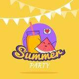 Illustration des Sommerfestplakat-Karikaturdesigns mit netten Wassermelonencharakteren und Smoothie, die Postkarte der Kinder, ge Lizenzfreie Stockbilder