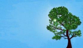 Illustration des Sommergrünbaums auf sonnigem Himmel des Hintergrundes mit Marmorpapiereffekt und des Raumes für Ihren Text Lizenzfreies Stockbild