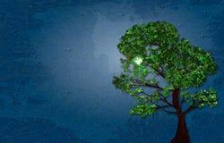 Illustration des Sommergrünbaums auf sternenklarer Nacht des Hintergrundes mit Marmorpapiereffekt und des Raumes für Ihren Text Lizenzfreie Stockbilder