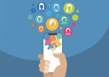 Illustration des Sozialen Netzes mit Ikonen Hand, die modernes Einfassung-freies hält Lizenzfreie Stockbilder