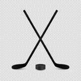 Illustration des Sportsatzes - zwei realistische gekreuzte Hockeyschläger und Kobold Designschablonen im Vektor Nahaufnahme lokal vektor abbildung