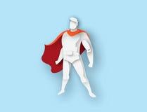 Illustration des stehenden Superhelden, Geschäftsenergieikone Stockfotos
