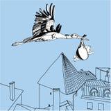 Illustration des Storchs über der Stadt Lizenzfreie Stockfotografie